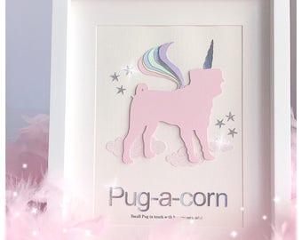 COMING SOON***** Pug dog Unicorn Pugacorn Pastels Unicorns Nursery decor Office Decor Glitter clouds NEW