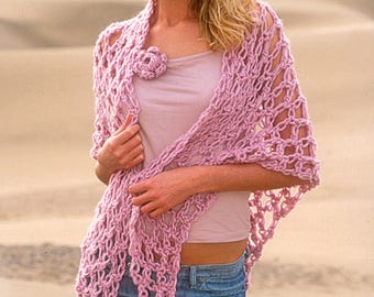 Crochet  wool shawl  for winter, made by hand,  gift for her
