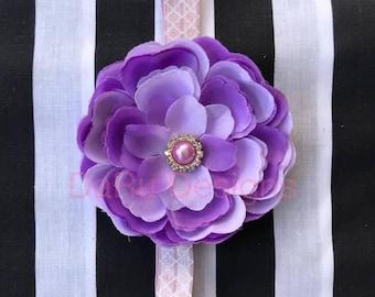 Baby headband, flower headband, purple headband, purple flower, fashion headband,