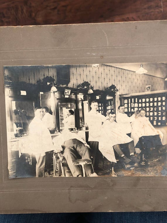 FREE SHIPPING-Antique Sepia Barbershop Photo
