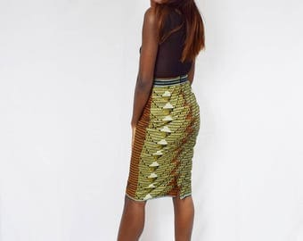 Rust and Black Tribal Pencil Skirt, Ankara Pencil Skirt, African Wax Short Skirt – Made to Order