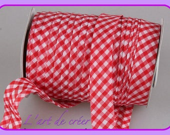 1 m of Ribbon through cotton, GINGHAM, plaid red and white
