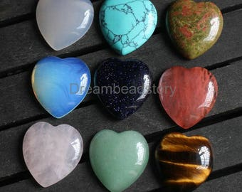 Love Heart Shape Natural Gemstone and Crystal 23*25mm Large Cabochon  (HX277)