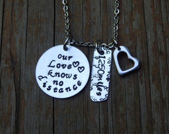 Our Love Knows No Distance, Customized, Promise necklace, Valentine's Day