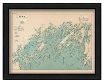 Casco Bay 1909 Colored - Nautical Chart by Geo. Eldridge