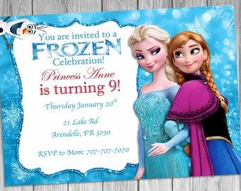 Elsa and Anna Frozen Invitation, Frozen Invitation, Birthday Invitation