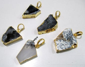 SALE- Natural Dendrite Opal Slice Pendant Free Form , Connector Charm With 24 kt Gold Electroplated Edge , Single Loop 1 inch approximately.