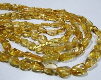 Natural Genuine Citrine Nugget Shape Beads , 8 to 12mm long Plain Smooth tumbled Beads , Sold per strand of 12 inch long , Gemstone Beads.