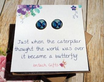 Butterfly, Bronze Post Earrings