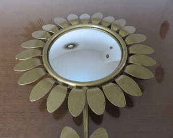Sun flower mirror bulging eye witch metal mid century 1960's 1970 '60s 70's vintage old french gold sun flower witch mirror
