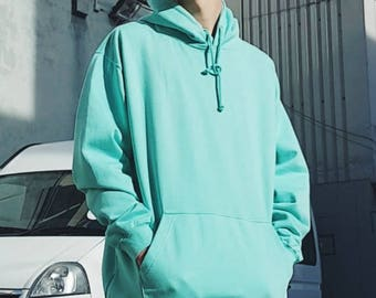 Oversized Ringspun Cotton Hoodie Mint Green