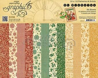 Graphic 45-St. Nicholas-12x12 Patterns & Solids Paper Pad