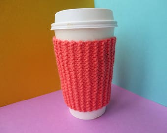 Coral Coffee Cup Sleeve | Hand Knit Cup Cosy | Fits Starbucks Cup | Gifts For Her | Stocking Fillers | Tea Cosy | Knit Coffee Cosy