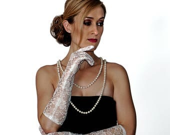 White Lace Elbow Length Gloves 4439WH