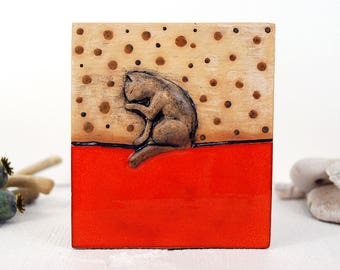 CERAMIC ART TILE - ceramic cat, wall hanging, wall decor, cat ornament, ceramic tile, wall tile, decorative tile, cat face sculpted tile