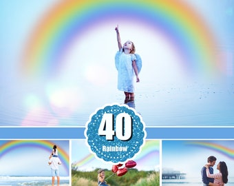 40 rainbow  Photo Overlays, Photoshop overlay, bokeh overlay, sky, summer, rain and sun effect, colorful, chasing rainbows, png file