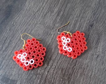 Large earring heart hama bead