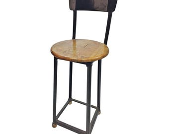 Vintage INDUSTRIAL STOOL steel metal chair seat steampunk factory machine age loft od drab green military seating bar wood shop drafting