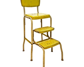 Vintage COSCO STEP STOOL yellow metal industrial steampunk folding steel chair retro mid century modern 50s 60s shabby cottage chic kitchen