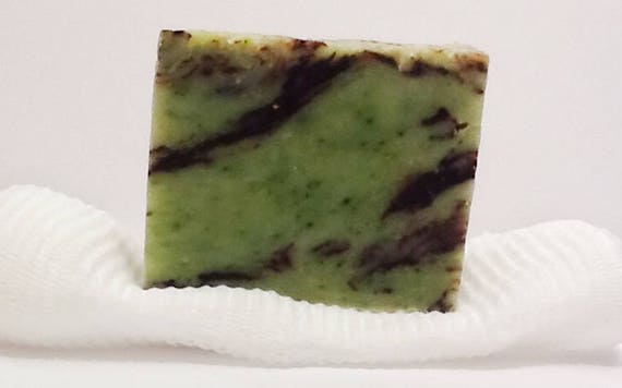 Organic Mint Chocolate Swirl Soap with Soap Saver.