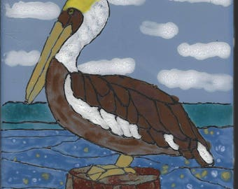 Pelican #210 Hand Painted Kiln Fired Decorative Ceramic Wall Art Tile 6 x 6