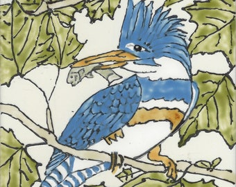 Kingfisher #301 Hand Painted Kiln Fired Decorative Ceramic Wall Art Tile 6 x 6