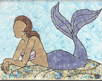 Mermaid #402 Relaxing Hand Painted Kiln Fired Decorative Ceramic Wall Art Tile  6 x 8