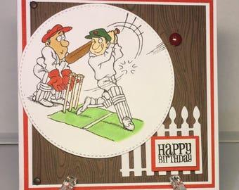 Handmade cricket birthday card.