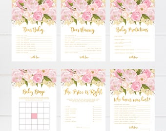 Baby Shower Games Printable Girl, Baby Shower Games Girl Floral, Pink And Gold, Games For Baby Shower, Package, Set, Wishes For Baby, Advice