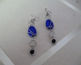 Boucles d'oreilles Bleu, pierre givré & noir **Expédition gratuite au Canada**Free shipping to Canada**