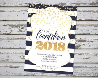 New Years Eve Invitation, New Years Eve Party, New Year Party Invitation, New Years Eve Invite, New Year Celebration, Countdown 2018 Invite