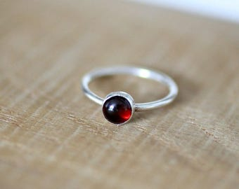 Garnet Gemstone Ring, Birthstone Ring, January Birthstone, Stacking Ring