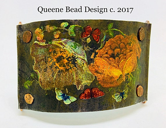 Vintage Floral Tin and Copper Cuff Bracelet #queenebead