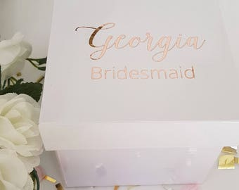 Small Gloss White Gift Box - Personalized - Rose Gold(image)
