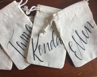 Personalized Gift Bag, Jewelry Bag, Tiny, Linen, Muslin, Cloth, Hand-lettered, Customized, Christmas, Bridesmaid Gift, Bridal Party