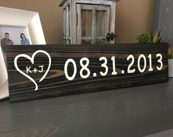 Save The Date Wood Sign / Initials Wood Sign / Custom Save The Date Sign / Established Date Sign / Wedding Gift / Anniversary Gift