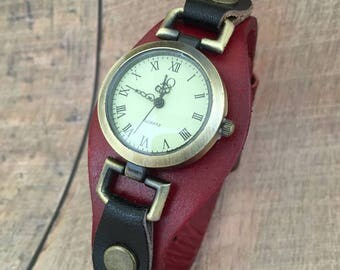 Women watch dial retro dark red leather, original old style, friendly gift