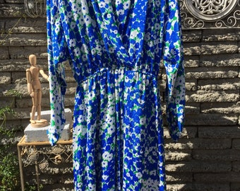 Vintage 1980's Lilli Ann Dress * Blue Floral Dress * Size Small to Medium