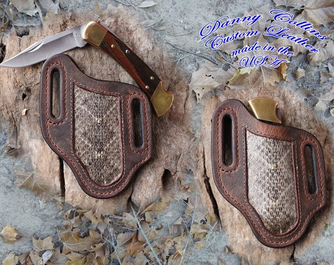 Buffalo Leather Knife Sheath with Rattlesnake Inlay,  Buck 110 and other Similar Sized Folding knives, Left side carry Sheath