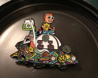 Rick and mory spaceship hat pin