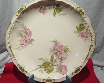 Theodore Haviland Limoges Platter Floral with Gold Accents 14""