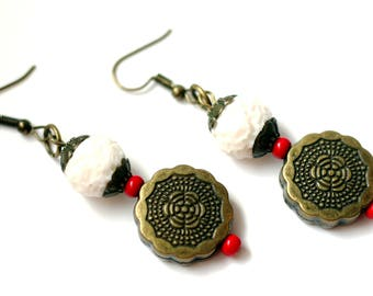 Polymer Clay jewelry White earrings Bronze Beads earrings Dangle and Drop Geometric jewelry Boho beaded jewelry Textured earrings for Women