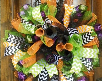 "XL Wreath Made from Mesh Spirals in Bright Lime Green, Orange, Black and Black with Bold Stripes - 31"" diameter - Fsll - Halloween"