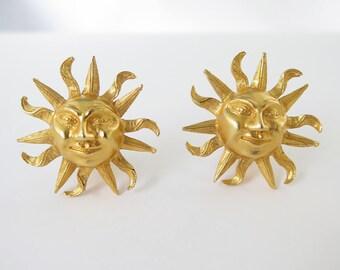 1980s Sun Face Clip On Earrings Gold Tone Metal Sunshine Clipons