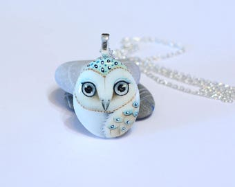 Hand painted Barn Owl pendant/necklace  FREE SHIPPING