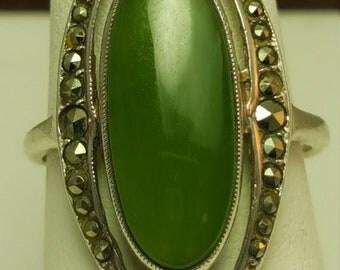 Clearance Week Jade Sterling silver Ring Art Deco Deep Green Jade