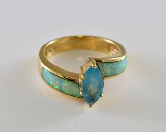14K Gold Ring with Synthetic Blue Topaz and Lab Created Opal Size 8