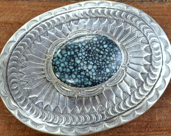 Large Spider Web Turquoise and Sterling Silver Southwestern Belt Buckle