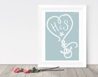 Personalised monogram print, nautical heart with anchor, couples gift, beach theme coastal print, custom gift for partner