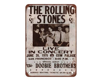 """1976 Rolling Stones in San Francisco - Vintage Look Reproduction 9"""" X 12"""" Metal Sign"""